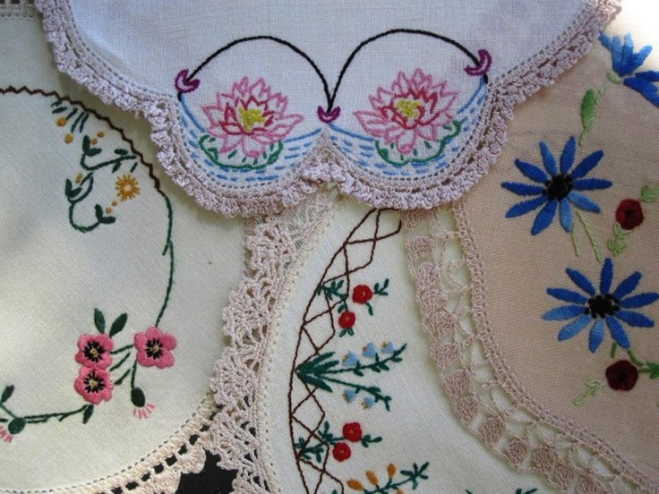 Four Vintage Round Hand Embroidered Doilies