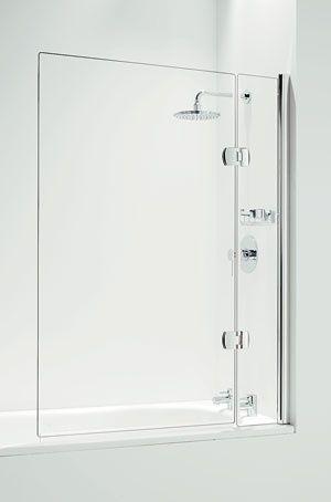 Shower over bath, simple, frameless glass shower screen.