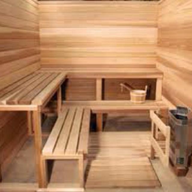 Outdoor sauna.