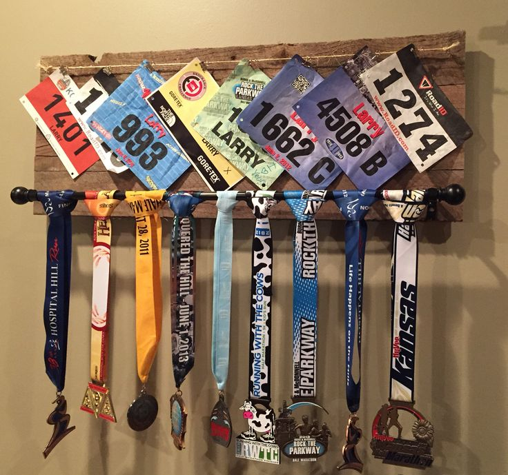 Running medal display made from reclaimed pallet wood                                                                                                                                                                                 More