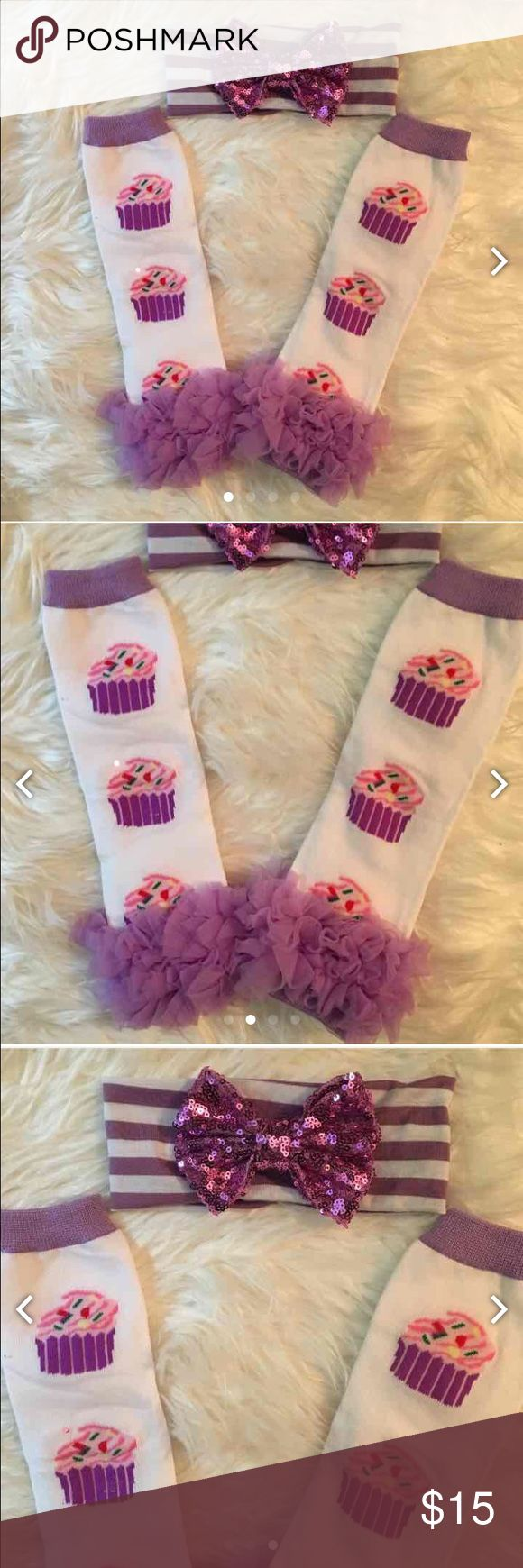 Cupcake cutie leg warmers and headband set Get these Delicious Cupcake leg warmers with purple and white striped headband and bright metallic purple bow. Perfect gift for your little one, a present for your niece, baby shower gift or expectant mother. Makes great coworker gifts, stocking stuffers and birthday celebrations! Set includes leg warmers and headbands. Price firm due to posh fee Accessories Socks & Tights