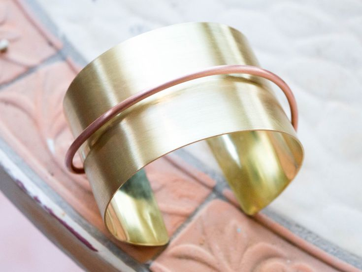 Cuff bracelet , Adjustable bracelet,Handmade wide bracelet ,Mixed metal ,Metalwork jewelry ,Gold metal bracelet , Brass and copper cuff