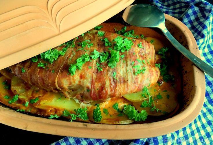 Kalkun i römertopf med fløde-paprika kartofler…