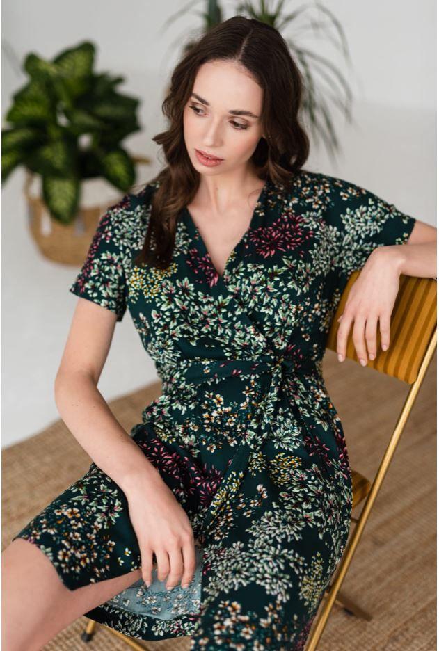 Kwiecista Sukienka Mini Fashion Dresses Wrap Dress