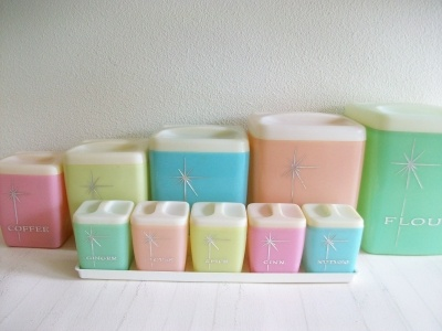 Mid Century Modern Vintage Nallyware Pastel Canisters