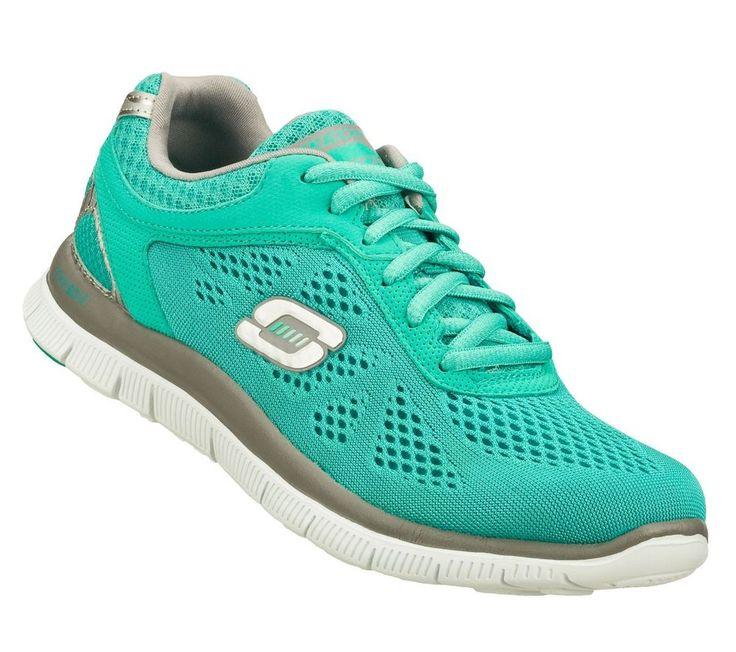 Sketcher Memory Foam Tennis Shoes For Women Grey Blue