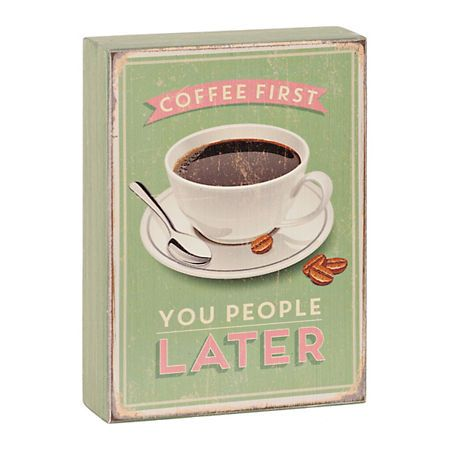 Coffee First Wooden Word Block | Kirklands