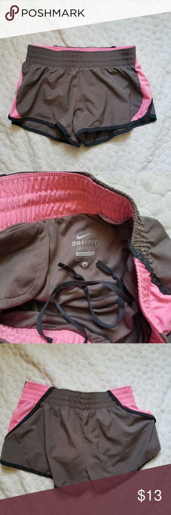 Nike Dri Fit shorts running athletic medium pink **Nike shorts with drawstring and key pocket. Brown pink and black.** Nike Shorts