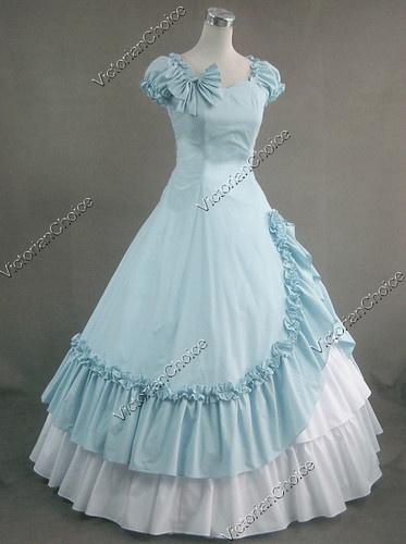 Civil War Southern Belle Cotton evening dress *reminds me of Cinderella<3
