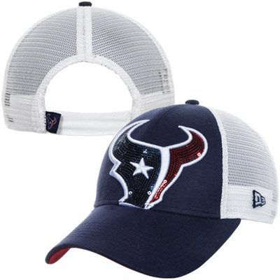 New Era Houston Texans 9FORTY Ladies Sequin Shimmer Adjustable Hat - Navy Blue/White