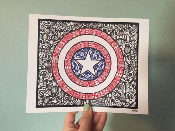 Zentangle Captain America by DesignsByBlynn on Etsy