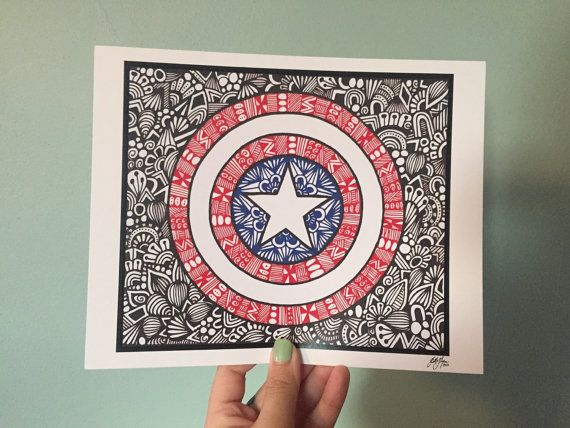 This is a print of a hand drawn zentangle style Captain America! Available in three sizes