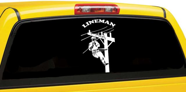 Lineman character window car decal lineworker car decal