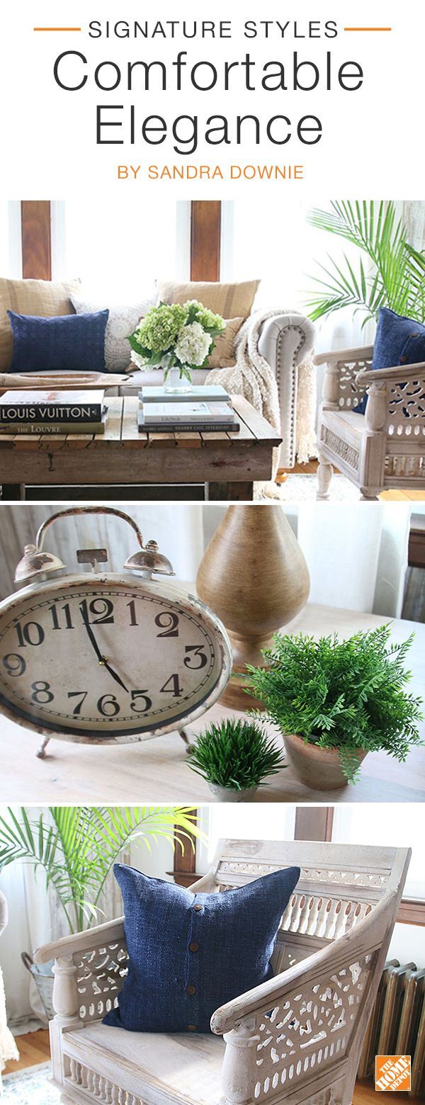Transform your formal sunroom into a comfortable yet elegant space. First, choose the focal point pieces of the room, then select the surrounding decor. Artfully hand-carved wood arm chairs add texture and visual interest to the room. Details like a vintage clock, stacked books, greenery and plenty of pillows enhance the room's casual yet chic look. We partnered with blogger Sandra Downie to create  this beautiful modern farmhouse space. Click to explore her selected products.