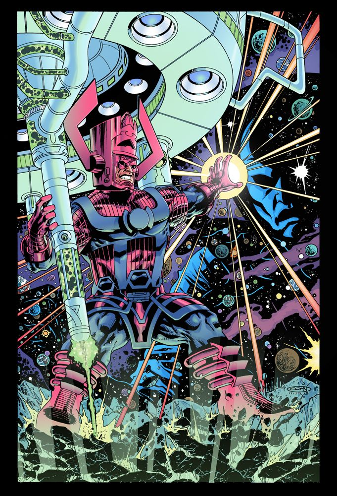 """Galactus is the famed """"Devourer of Worlds"""" in the Marvel Universe. His powers are nearly omnipotent. He has appointed a number of entities as his Heralds, imbuing them with the Power Cosmic. He uses energy from the core of planets and universal sources to sustain himself. He has currently been changed into the Lifebringer, who restores life to the planets Galactus has destroyed."""