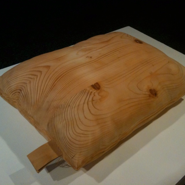 Wooden pillow. Artist unknown from Riverwest Artist Association, Milwaukee.