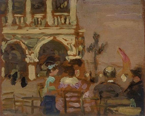 James Wilson Morrice, Seated Figures, San Marco Square, Venice