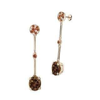 Plaisir d'Amour Earrings  Plaisir d'Amour earrings, 18Kt pink gold, Smoky Quartz (6,6 ct), orange sapphires and diamond pavé.