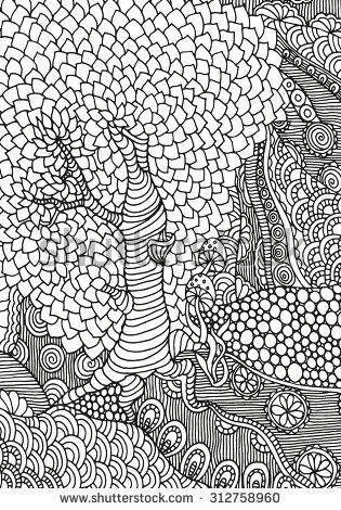 abstract trees coloring pages - photo#6
