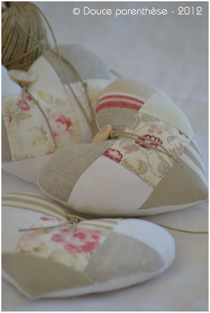 Heart sachets. Good use for fabric scraps.
