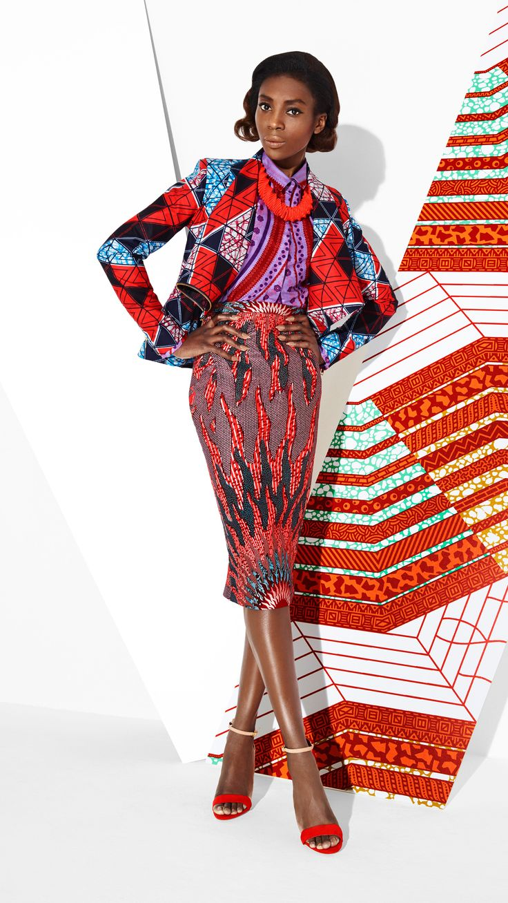 DARE TO MATCH | Some fabrics are just meant to be together, as these designs beautifully combine warm sunset colours and ton sur ton. With both the skirt and blouse tailored from 2 yards and the jacket from 4 yards, it all adds up to fabulously flawless chic. | #fashion #fashionlook #africanpritnfashion #ankarafashion #africanfashion #printfashion #africafashion #skirt #jacket #pencilskirt #top