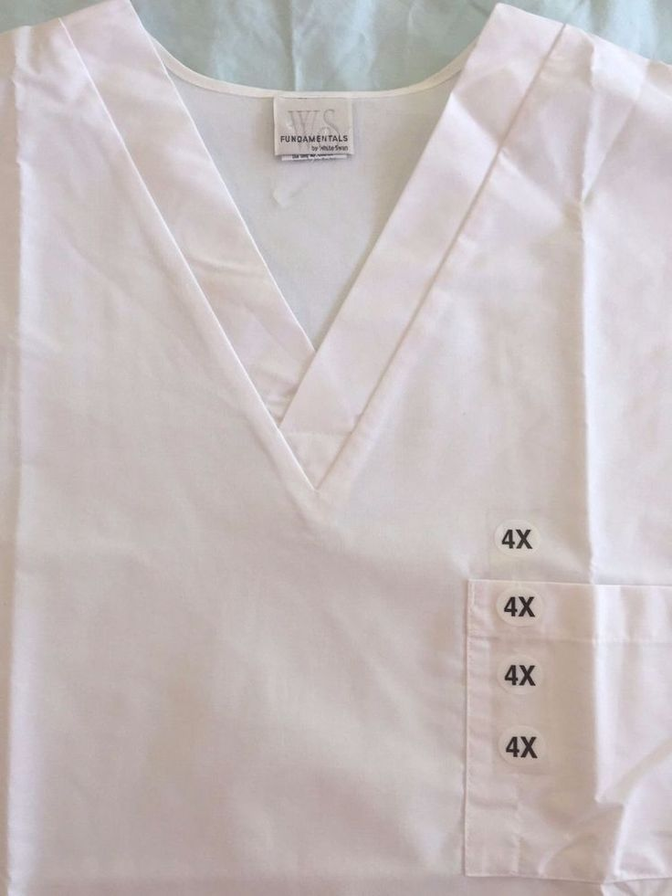 Scrub Top 4X Solid White Plus Size Short Sleeve V Neck Nurse Medical Uniform New #WhiteSwan