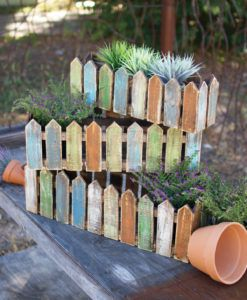 Wooden Picket Fence Planters