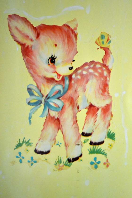 Cute Vintage Deer Decal, this is the type of prints and stickers used when I was a little girl...I remember this deer on a baby crib.