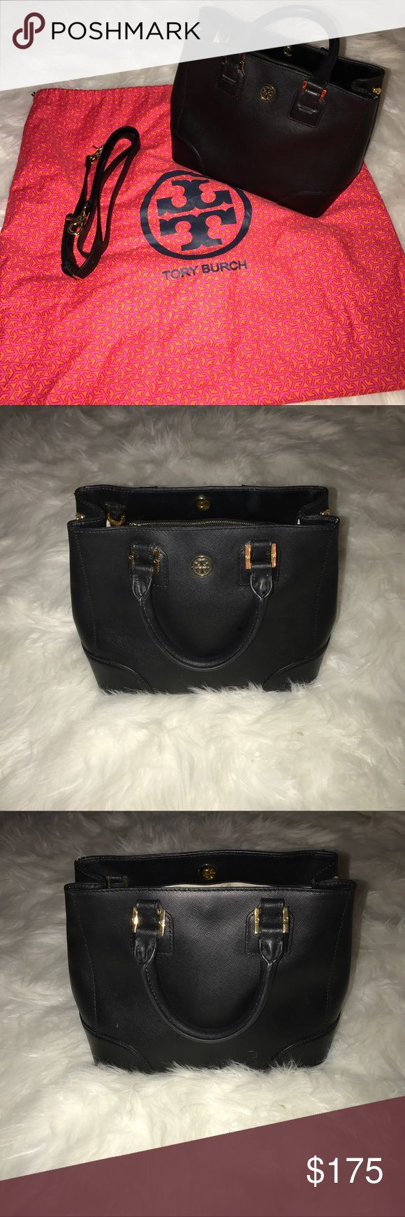 """Tory Burch small Robinson zip tote Authentic Tory Burch small Robinson zip tote. Black saffiano leather with gold hardware. There are some marks inside one of the pockets and some scratching on the back and minor scratching on the bottom of bag. Comes with dust bag and cross body strap. Handles have a 4.5"""" strap drop. 11""""Wx8""""Hx6.5""""D Tory Burch Bags Totes"""