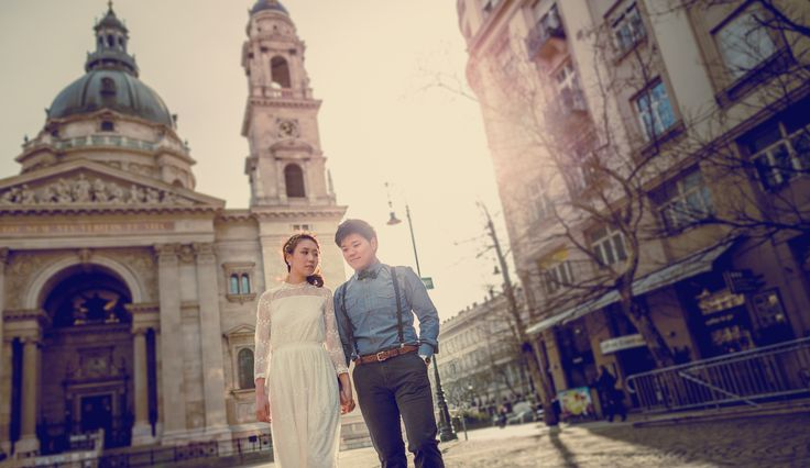 #Budapest #wedding #photographer #morning #photoshoot #couple #bride #groom #sunshine #sunrise #basilica