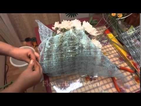 Букет круглый поляной из сетки - YouTube