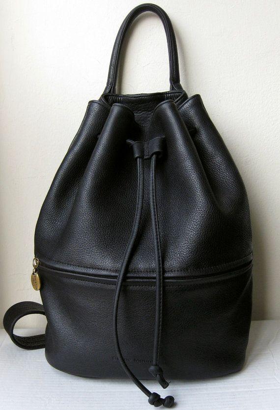 Vintage Large Black Pebble Leather Sling Shoulder Or Cross Body Bucket Bag With Drawstring Cinch Closure Boho Grunge In 2018 Handbag H Pinterest