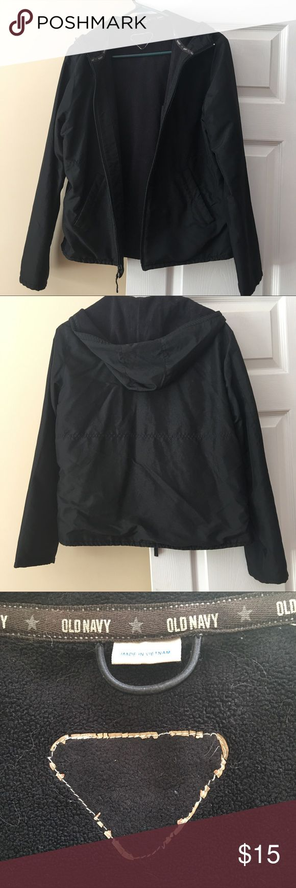 Old Navy Coat This is a black, Old Navy coat with an attached hood. It is size medium, but missing the size tag.  It has two outside pockets. No stains, marks, holes, or signs of wear. The fleece lining attracts lint. Old Navy Jackets & Coats