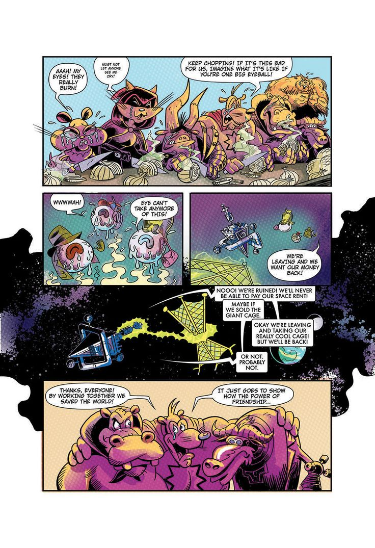 """Page 8 of """"Eye Eye Eye"""" comic written by Ian """"Simpsons"""" Boothby, drawn by Toren Atkinson, colors Tanya Lehoux, letters Christopher Barrett"""
