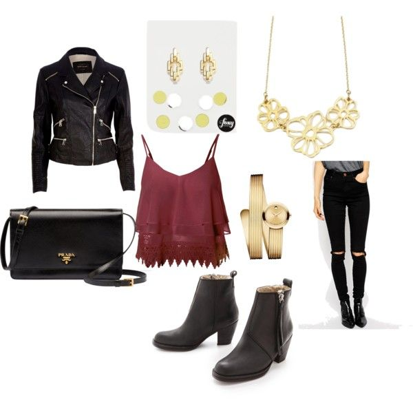 Night Out @ Bar by brittanypileggi on Polyvore featuring River Island, ASOS, Acne Studios, Prada, Mossimo, Leather, NightOut and bar