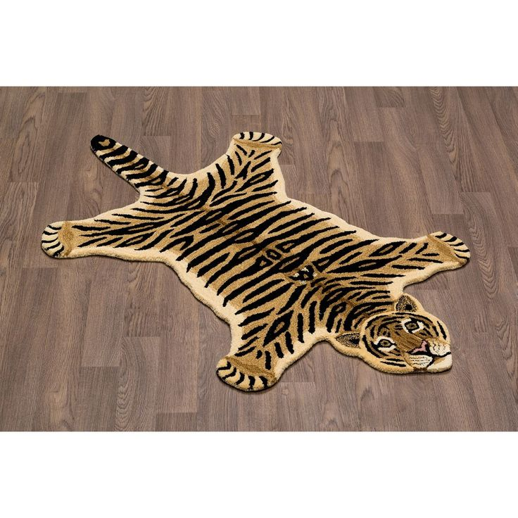 Hand-tufted Tiger Skin Shape Wool Rug - 3' X 5'