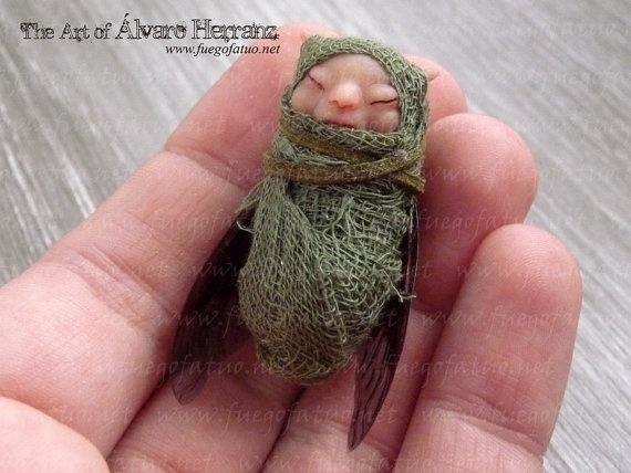 Winged baby faerie  fantasy ooak art doll fairy baby by FuegoFatuo, €34.90