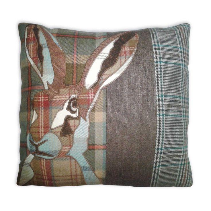 Tweed tartan animal hare cushion | eBay