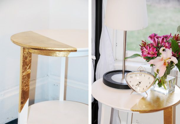 dipped in gold side table: Diy Ideas, Dips Side, Dips Dyed, Tables Diy, Gold Side Tables, Gold Dips, Dips Tables, Accent Tables, Dips Furniture