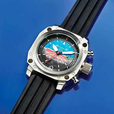 """Attitude Indicator Watch features the colorful graphics of the familiar instrument. Watch has quartz movement and a comfortable silicone band, and are water resistant to 3 ATM. Dials measure 2"""" x 2"""" and are 1/2"""" thick. Arrive in a padded tin case---New Design for 2013"""