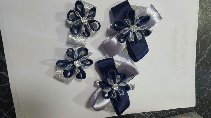 Hair Ribbon navy blue silver petals.. by Shaz