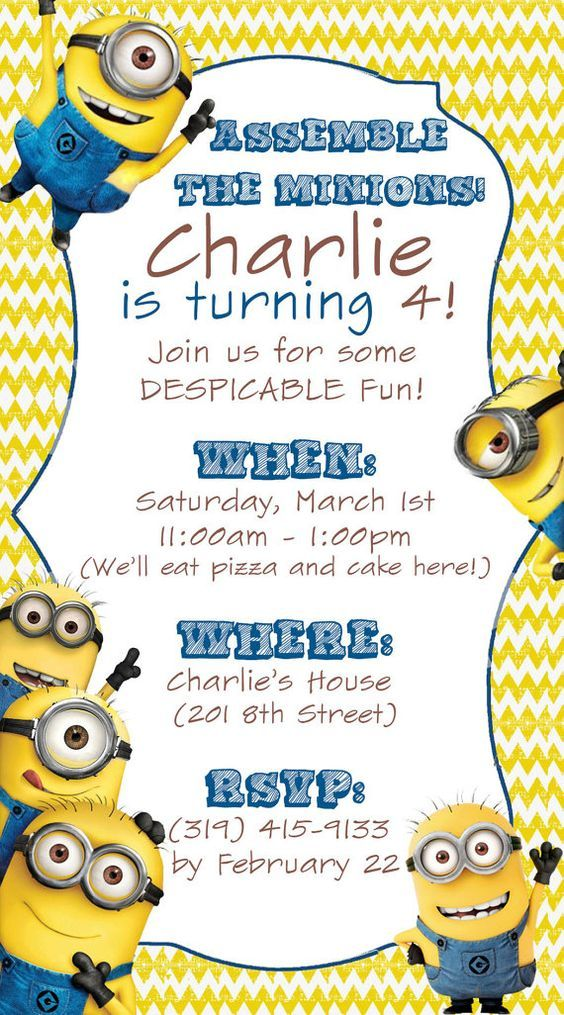 The 34 best 1st bday invitation images on Pinterest Minion