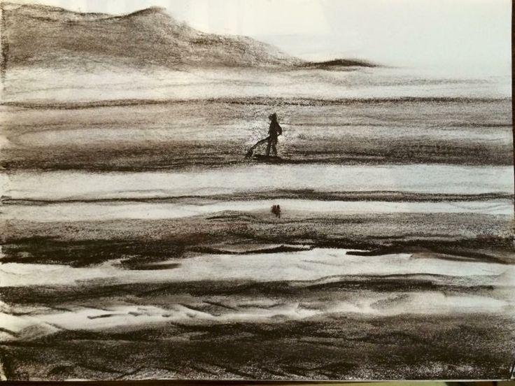 由比ヶ浜沖、サップ         木炭、紙         2015    Yuigahama offshore,sup Mineral pigments,paper