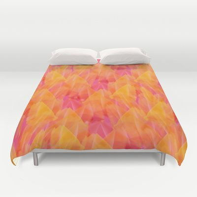 Tulip Fields #105 Duvet Cover by Gréta Thórsdóttir - $99.00  #floral #tulips #pattern #bedroom #abstract #Genus #Tulipa #Liliaceae
