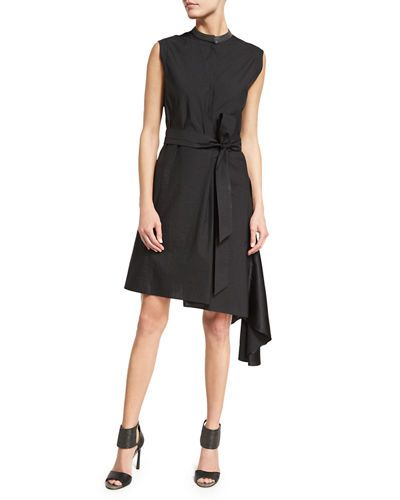 Belted Asymmetric-Hem Shirtdress