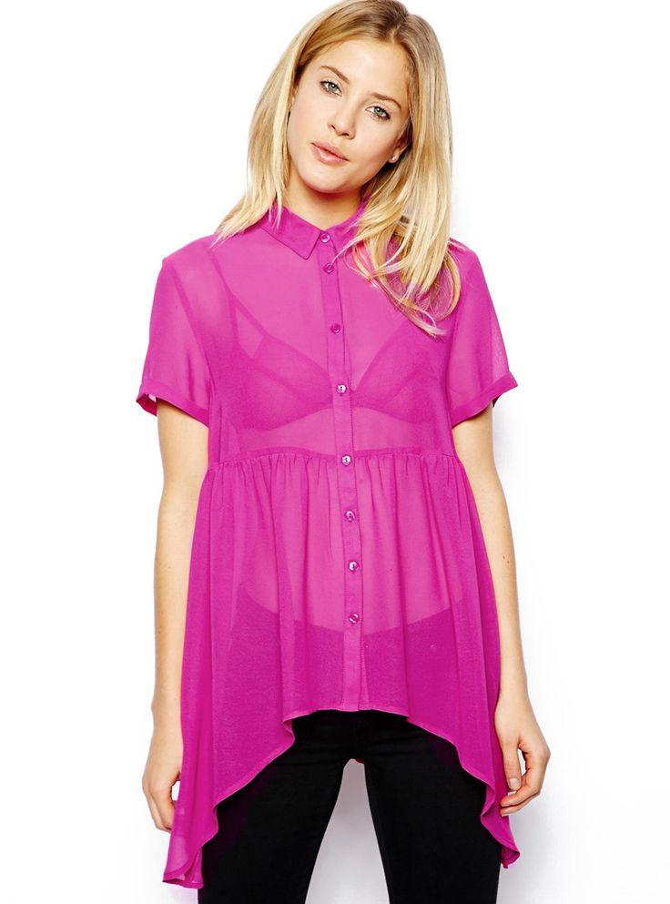 Rose Red Short Sleeve Sheer Chiffon Blouse 17.50
