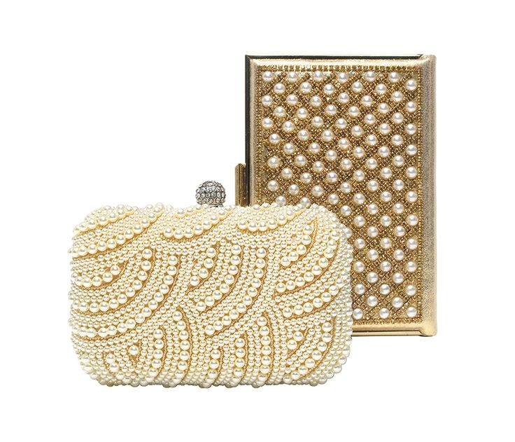 Bedazzled evening bags. Pearl studded box in gold, $74.50. Solid pearls in wave pattern, $84.00. Both at Woman in Motion.