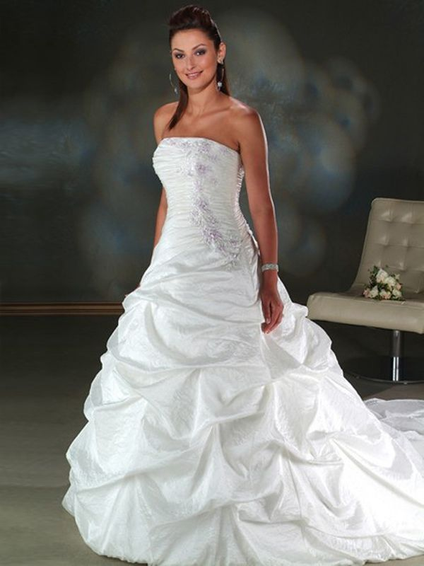 A Line Silhouette With Chapel Train White Wedding Dress