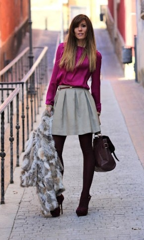 Fucsia for sunday: Fur Coats, Colors Combos, Fashion, Style, Clothing, Winter Outfit, Grey, Work Outfit, Pleated Skirts