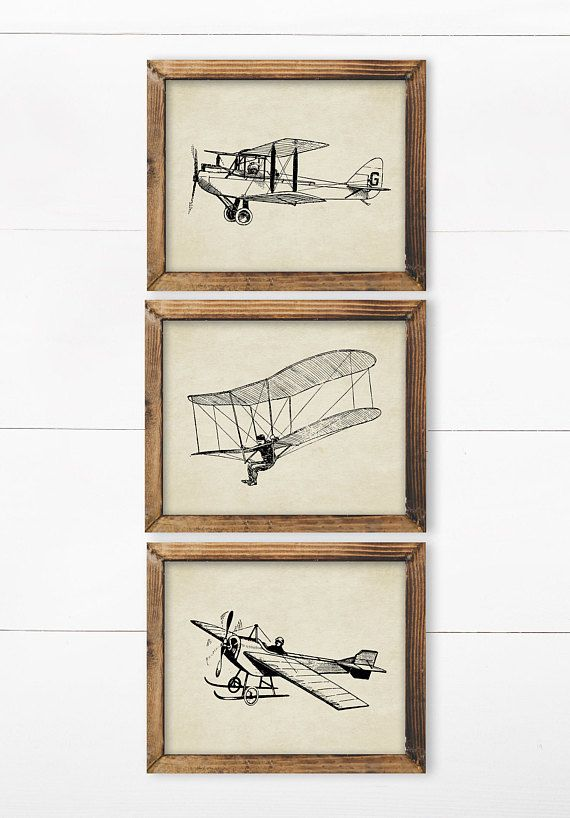 Set Of 3 Prints Printables Set Of 3 Wall Art Set Of Prints Vintage Airplane Decor Airplane N Airplane Wall Art Airplane Wall Decor Vintage Airplane Decor